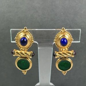 Vintage carolee gold gem earrings